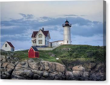 Nubble Lighthouse Canvas Print - Nubble Light At Dusk by Eric Gendron