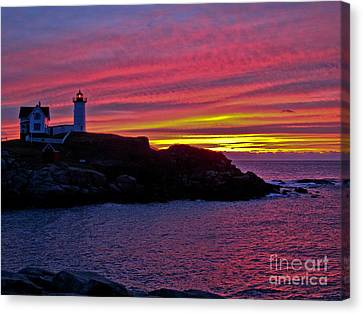 Nubble Lighthouse Canvas Print by Scott Moore