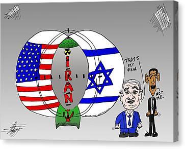 Geopolitics Canvas Print - Nuclear Iran Cartoon by Yasha Harari