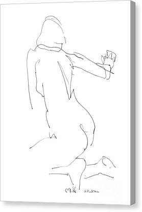 Canvas Print featuring the drawing Nude Female Drawings 8 by Gordon Punt