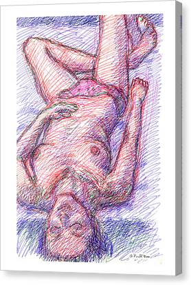 Canvas Print featuring the drawing Nude Female Sketches 6a by Gordon Punt