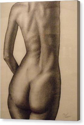 Nude Female Study Of Back Canvas Print by Neal Luea