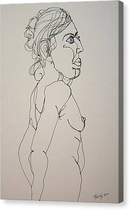 Nude Girl In Contour Canvas Print by Rand Swift