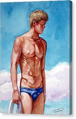 Nude Male Blonde In Blue Speedo Canvas Print
