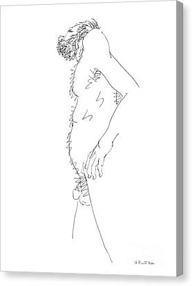 Canvas Print featuring the drawing Nude Male Drawings 6 by Gordon Punt