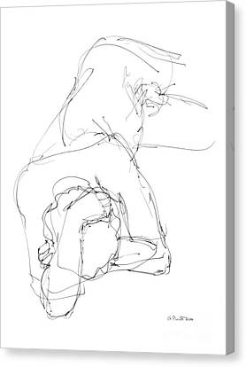 Canvas Print featuring the drawing Nude Male Drawings 7 by Gordon Punt