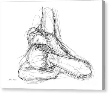 Canvas Print featuring the drawing Nude Male Sketches 3 by Gordon Punt