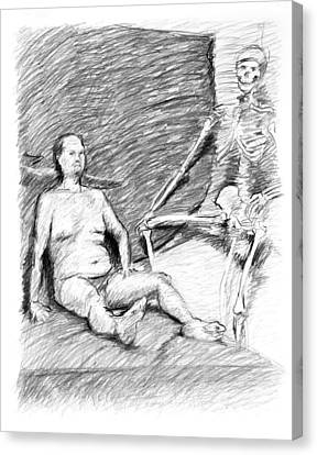 Nude Man With Skeleton Canvas Print by Adam Long