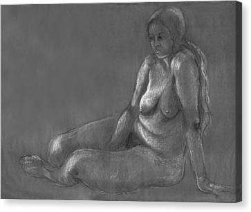 Nude Of A Real Woman In Black Canvas Print by Rachel Hershkovitz