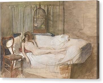 Nude On A Sofa Canvas Print by John Ward
