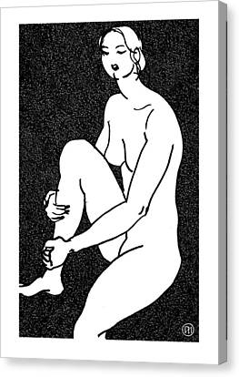 Nude Sketch 16 Canvas Print by Leonid Petrushin