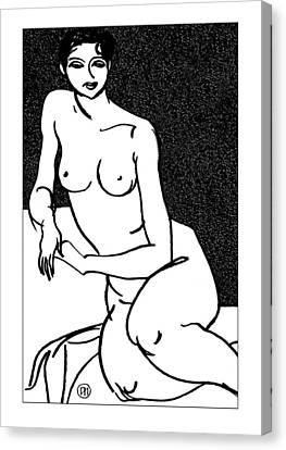 Figurative Canvas Print - Nude Sketch 35 by Leonid Petrushin