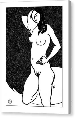 Nude Sketch 47 Canvas Print by Leonid Petrushin