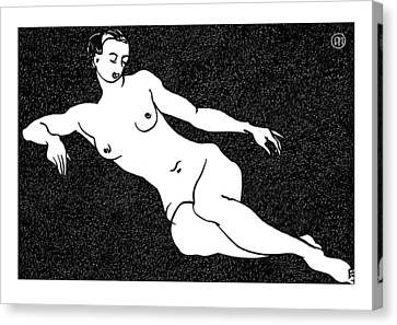 Nude Sketch 54 Canvas Print by Leonid Petrushin