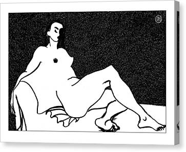 Nude Sketch 55 Canvas Print by Leonid Petrushin