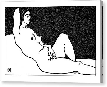 Nude Sketch 61 Canvas Print by Leonid Petrushin