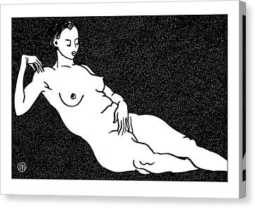 Nude Sketch 68 Canvas Print by Leonid Petrushin