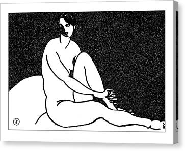 Nude Sketch 69 Canvas Print by Leonid Petrushin