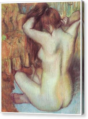 Woman Combing Her Hair Canvas Print - Nude Woman Combing Her Hair by Edgar Degas