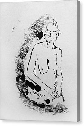 Canvas Print featuring the painting Nude Young Female That Is Mysterious In A Whispy Atmospheric Hand Wringing Pose Highly Contemplative by M Zimmerman