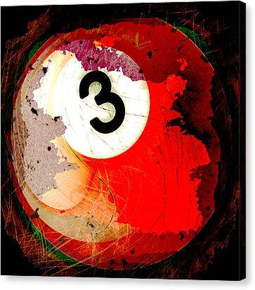 Number 3 Billiards Ball Canvas Print by David G Paul