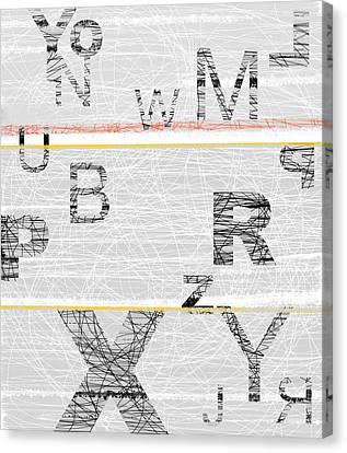 Numbers Grey Canvas Print