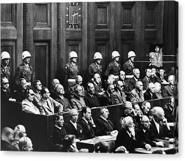 Nuremberg Trials,first Row Hermann Canvas Print by Everett