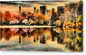Reflecting Water Canvas Print - Nyc At Sunset by Anthony Caruso