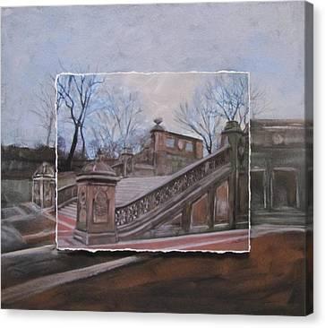 Nyc Bethesda Stairs Layered Canvas Print by Anita Burgermeister