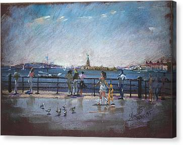 Rivers In The Fall Canvas Print - Nyc Grand Ferry Park 2 by Ylli Haruni