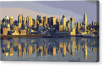 The Universe Canvas Print - Nyc Reflection Color 16 by Scott Kelley