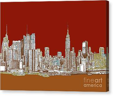 Nyc Skyline In Red Sepia Canvas Print by Building  Art