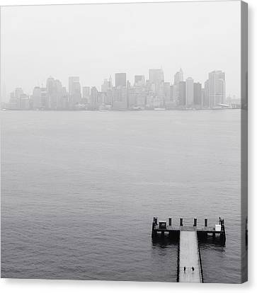 Nyc View From Liberty Island Canvas Print by Nina Papiorek