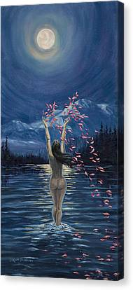 Canvas Print featuring the painting Nymphs Prayer by Kurt Jacobson