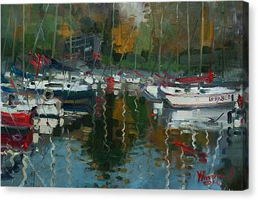 Oakville Harbour On Canvas Print by Ylli Haruni