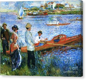 Oarsmen At Chatoli Canvas Print by Pg Reproductions