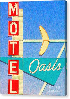 Oasis Motel Tulsa Oklahoma Canvas Print by Wingsdomain Art and Photography
