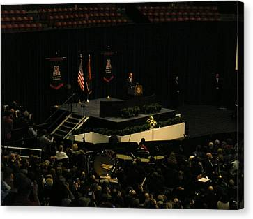 Obama At Mchale Center Canvas Print by Jayne Kerr
