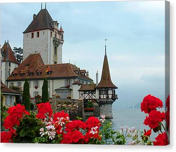 Chateau Canvas Print - Oberhofen Castle With Flowers by Marilyn Dunlap