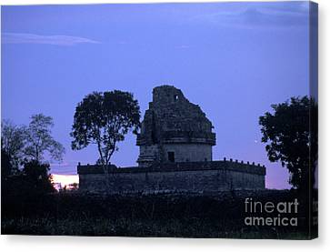 Canvas Print featuring the photograph Obervatory At Sunset Chichen Itza Mexico by John  Mitchell