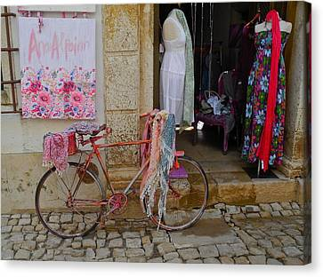 Canvas Print featuring the photograph Obidos Portugal Street Scene by Kirsten Giving