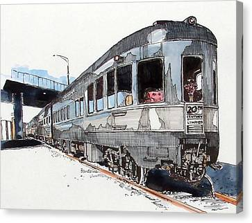 Canvas Print featuring the painting Observation Car by Terry Banderas
