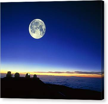 Keck Telescope Canvas Print - Observatories At Mauna Kea, Hawaii, With Full Moon by David Nunuk