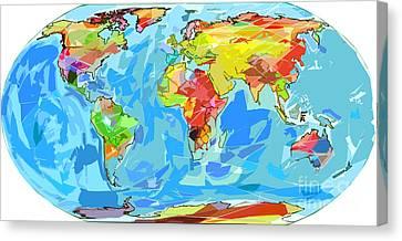Ocean Currents World Map Canvas Print by David Lloyd Glover