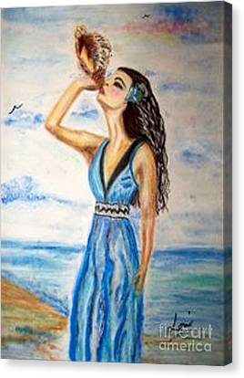 Canvas Print featuring the drawing Ocean Dreams by Lori  Lovetere