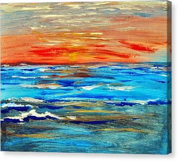 Ocean Sunset Canvas Print by Amanda Dinan
