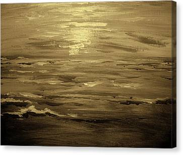Ocean Sunset Blk Wht Canvas Print by Amanda Dinan