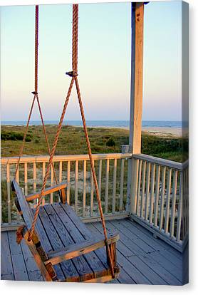 Canvas Print featuring the photograph Ocean View At Oak Island Nc by Kelly Nowak