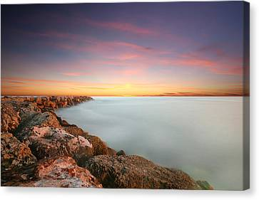 Oceanside Harbor Jetty Sunset Canvas Print by Larry Marshall
