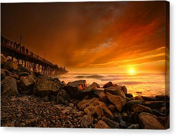 Oceanside Sunset 4 Canvas Print by Larry Marshall